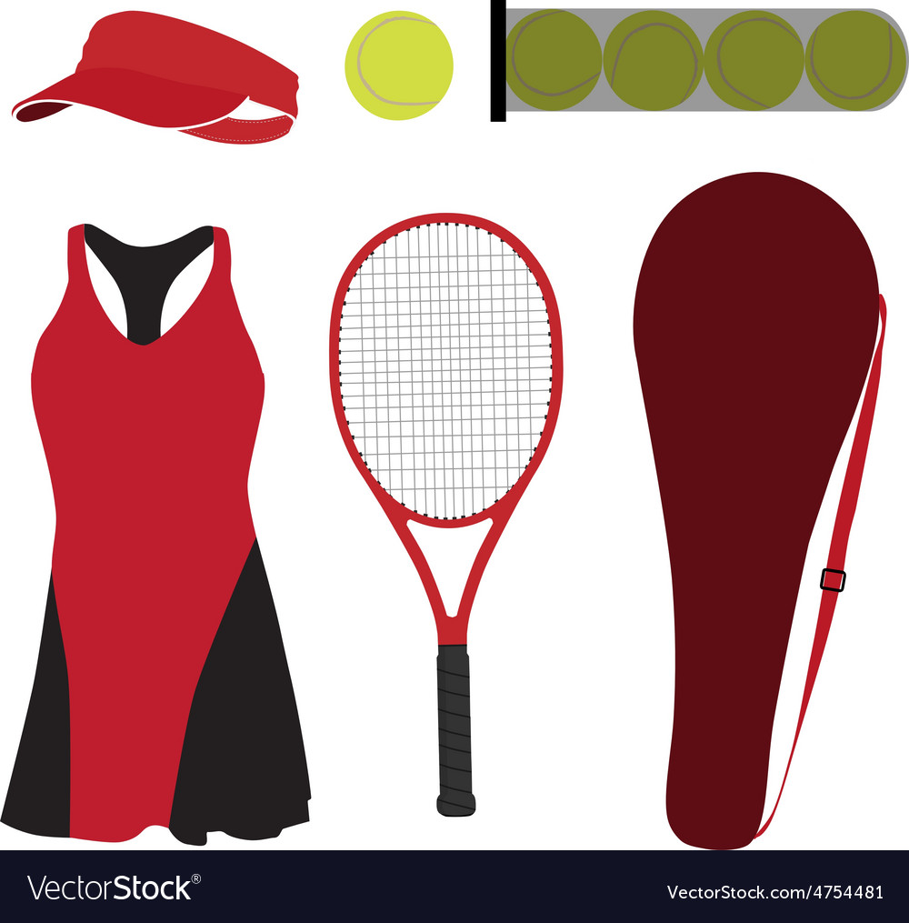 Tennis set six items vector | Price: 1 Credit (USD $1)