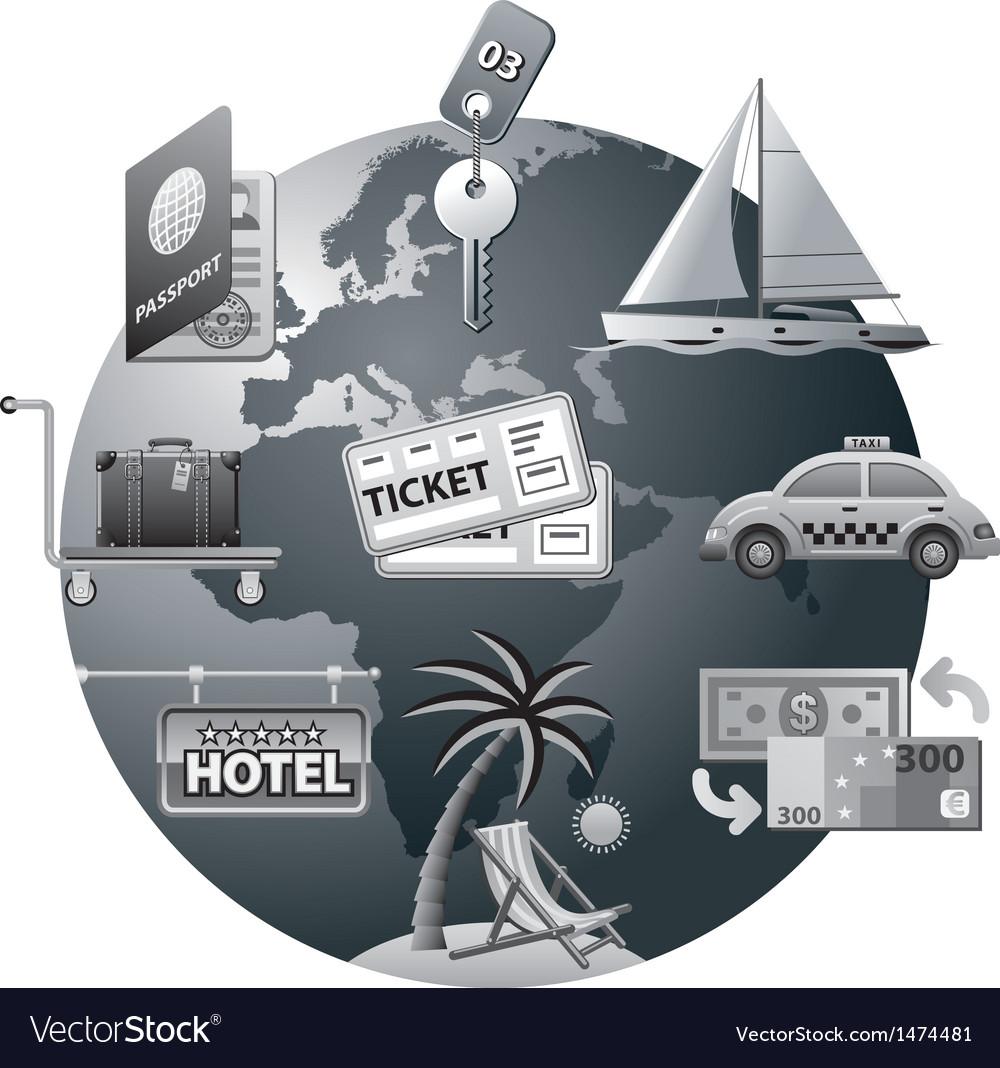 Travel concept icon grey vector | Price: 3 Credit (USD $3)