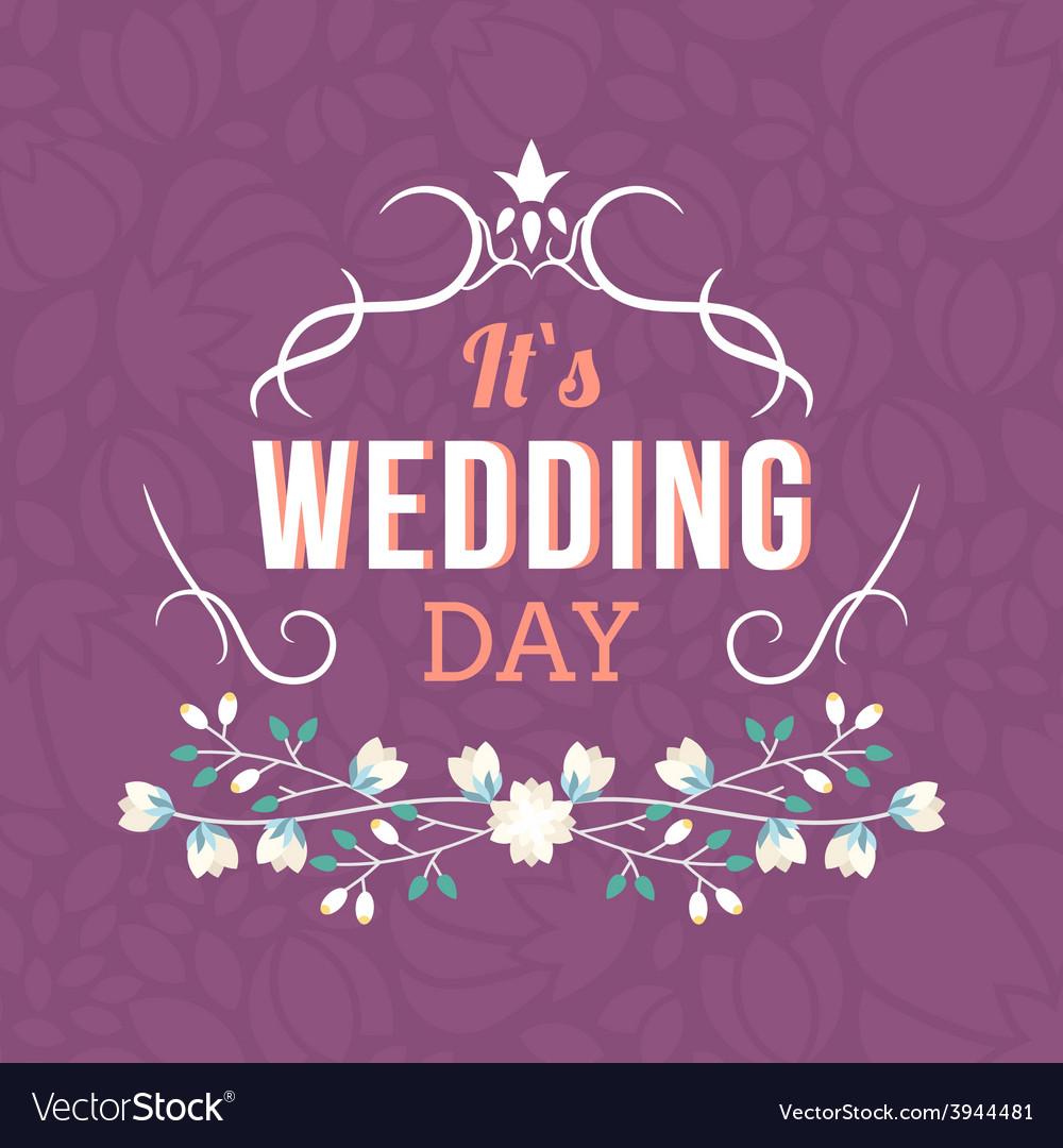 Wedding label badges stamp and floral design vector | Price: 1 Credit (USD $1)