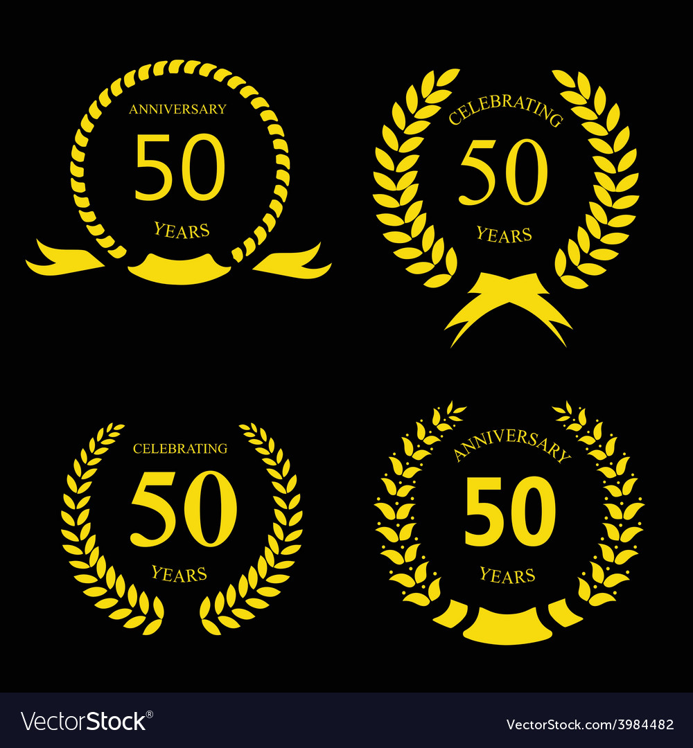 50 fifty years anniversary signs laurel gold vector | Price: 1 Credit (USD $1)