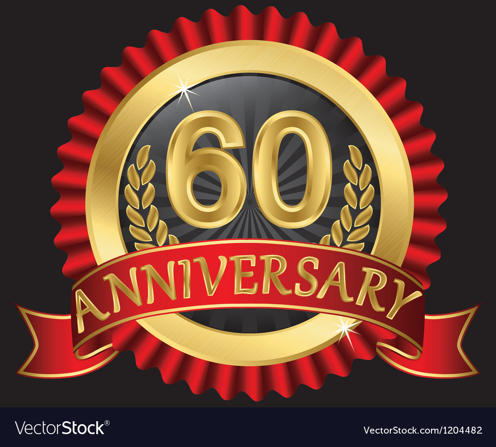 60 years anniversary golden label with ribbons vector | Price: 3 Credit (USD $3)