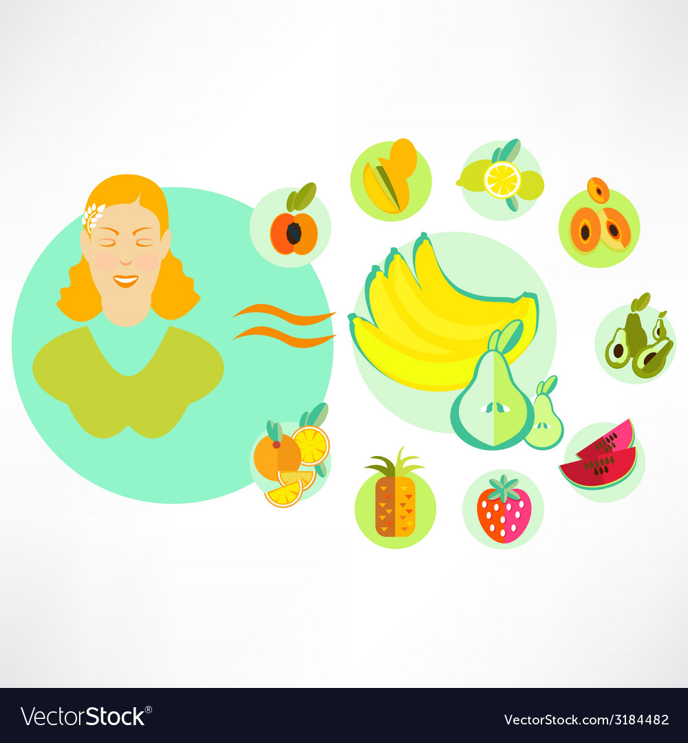 A set of fruit icons vector | Price: 1 Credit (USD $1)