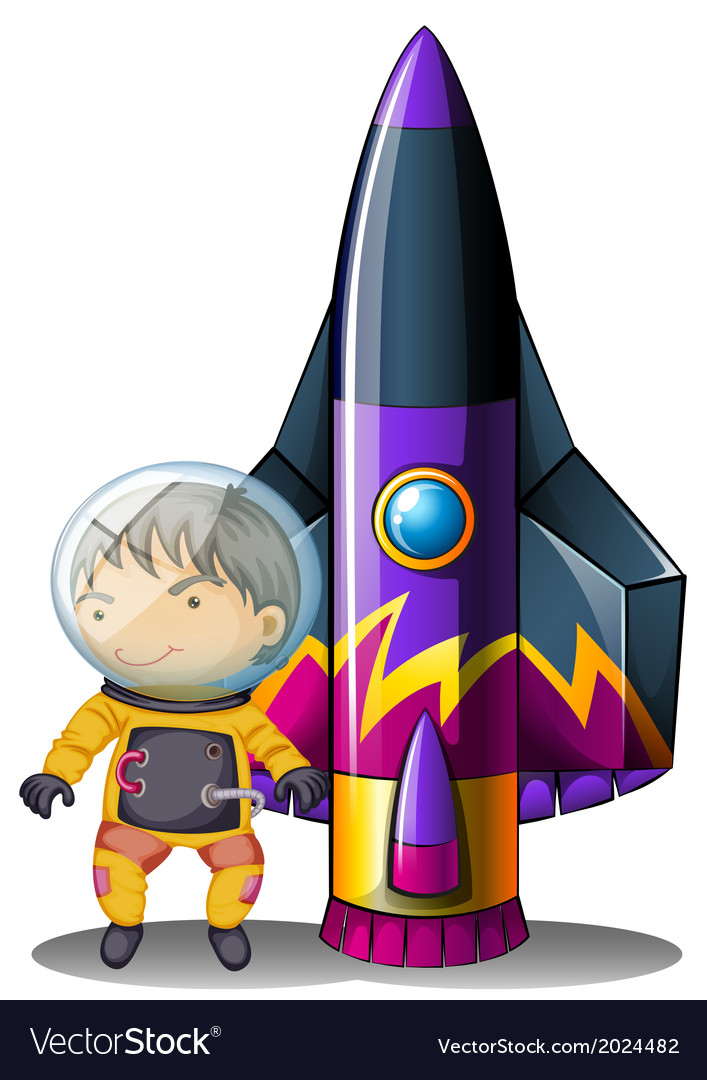 A young astronaut beside the rocket vector | Price: 3 Credit (USD $3)