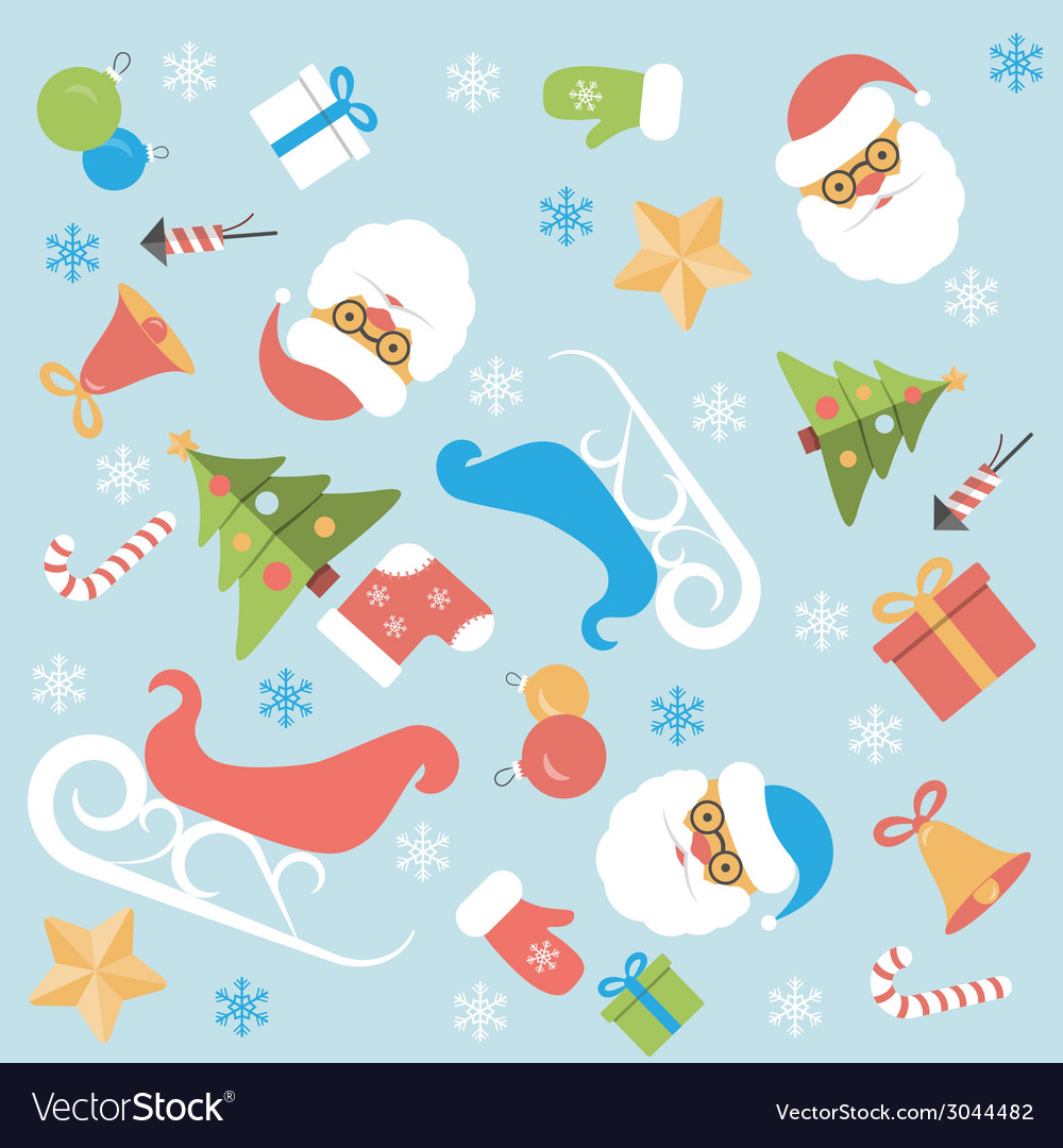 Christmas background flat design vector | Price: 1 Credit (USD $1)