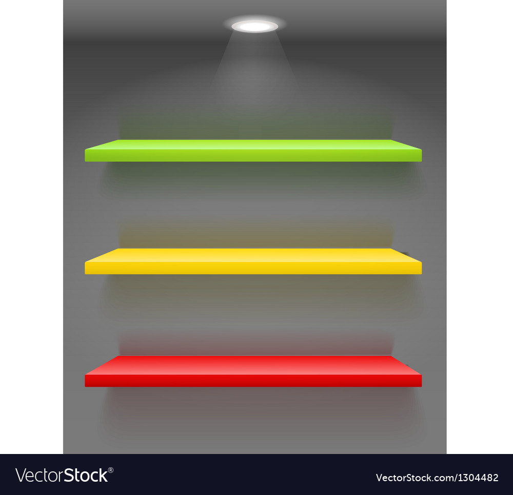 Colorful book shelves on dark wall vector | Price: 1 Credit (USD $1)