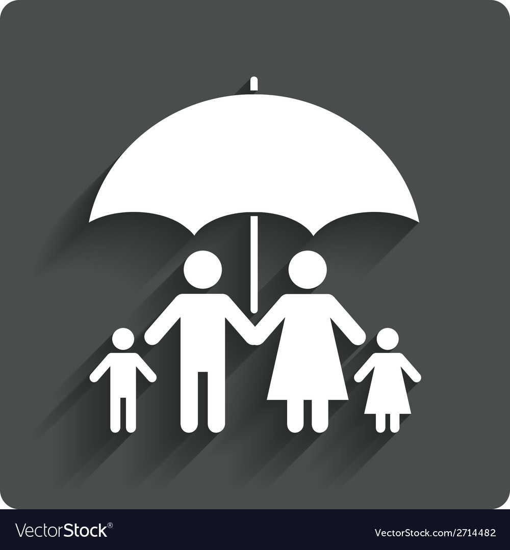 Complete family insurance icon umbrella symbol vector | Price: 1 Credit (USD $1)