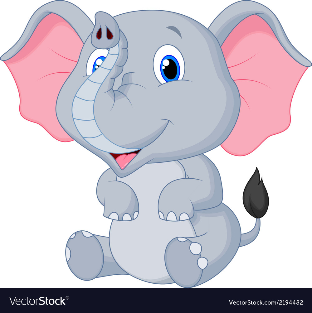 Cute baby elephant cartoon vector | Price: 1 Credit (USD $1)