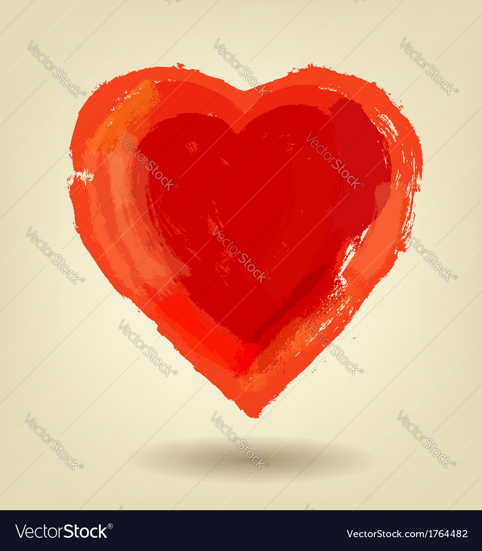 Painted red heart vector | Price: 1 Credit (USD $1)