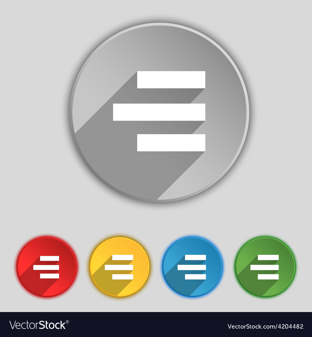 Right-aligned icon sign symbol on five flat vector | Price: 1 Credit (USD $1)