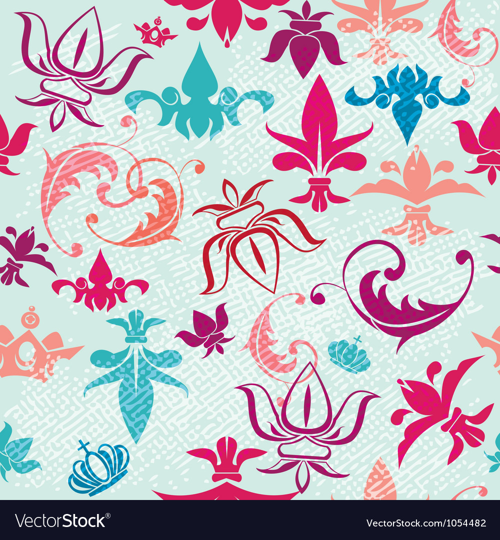 Seamless pattern with vintage heraldic silhouettes vector | Price: 1 Credit (USD $1)