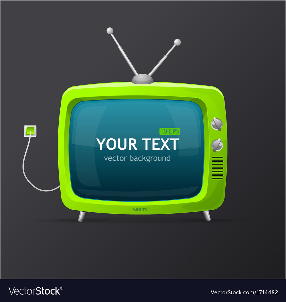 Tv retro cartoon style vector | Price: 1 Credit (USD $1)
