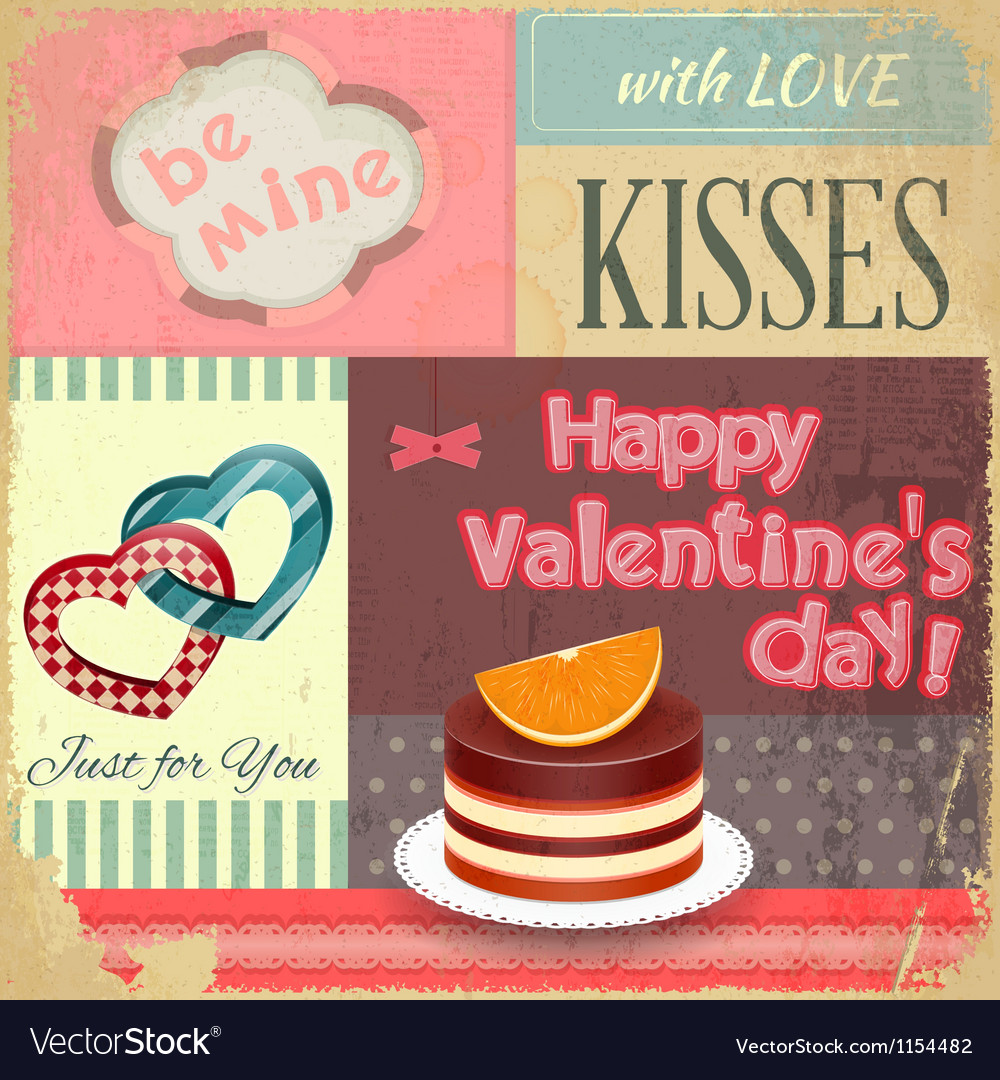 Vintage retro postcard to the valentines day vector | Price: 1 Credit (USD $1)