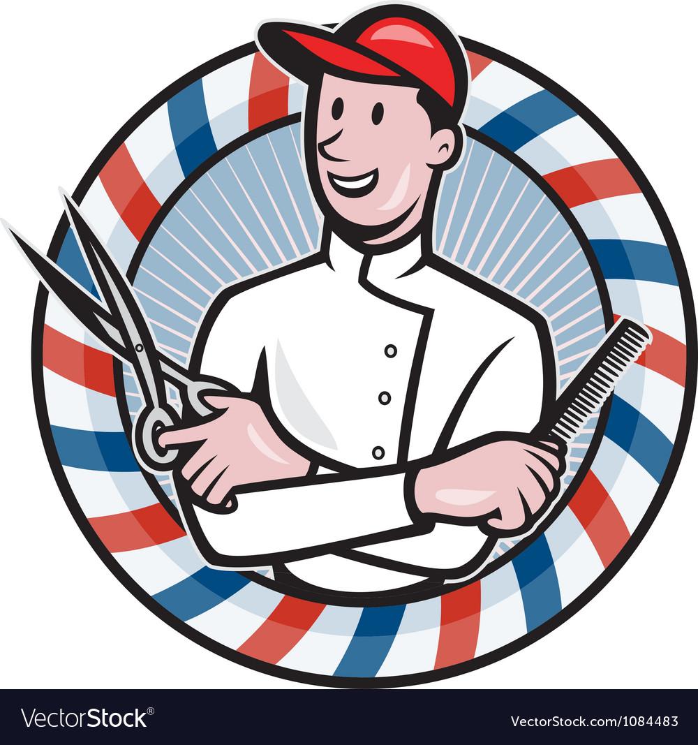 Barber with scissors and comb cartoon vector