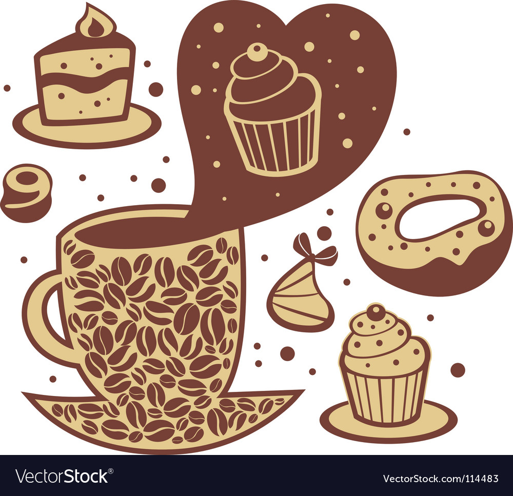 Coffee and cakes vector | Price: 1 Credit (USD $1)