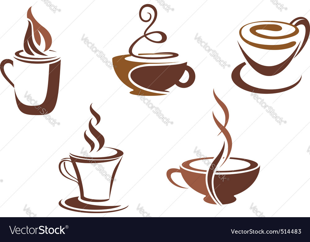 Coffee and tea symbols and icons vector | Price: 1 Credit (USD $1)