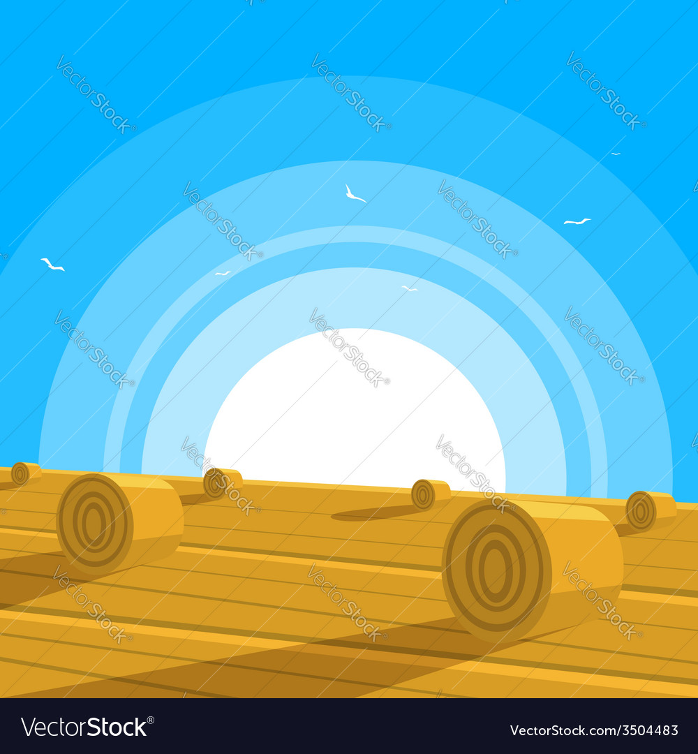 Field with bales of hay vector | Price: 3 Credit (USD $3)