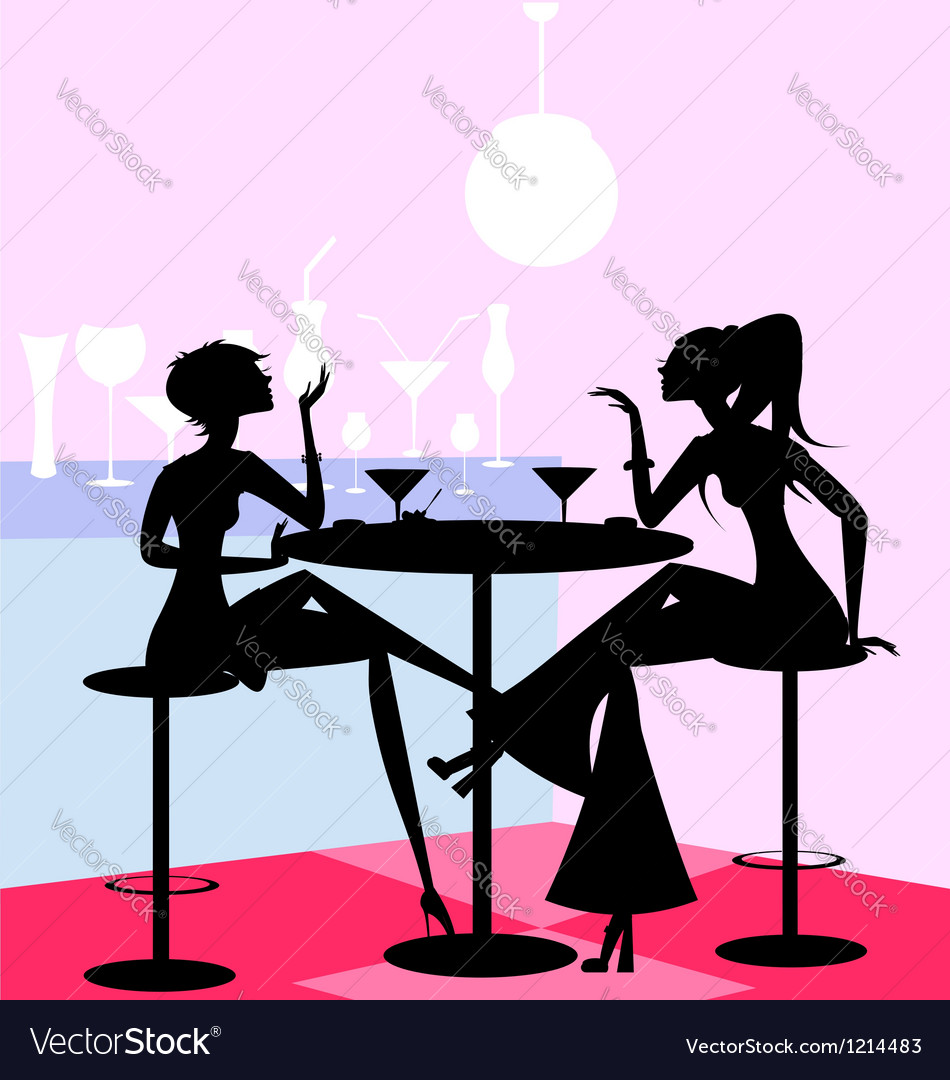Girls in the cafe vector | Price: 1 Credit (USD $1)