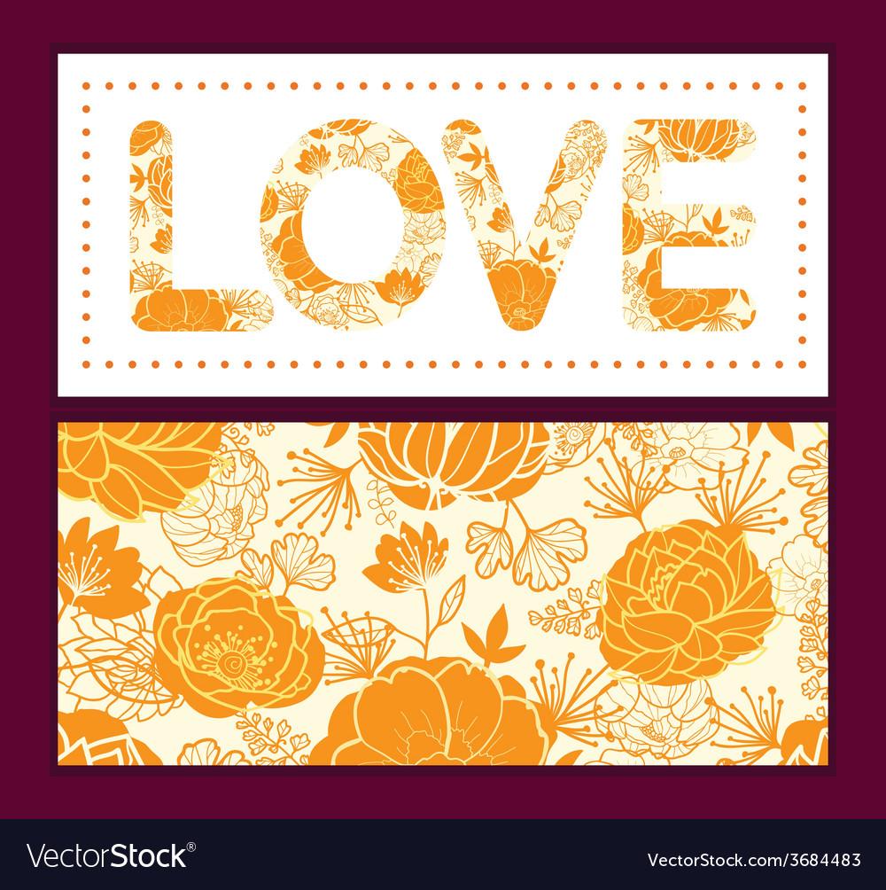 Golden art flowers love text frame pattern vector | Price: 1 Credit (USD $1)