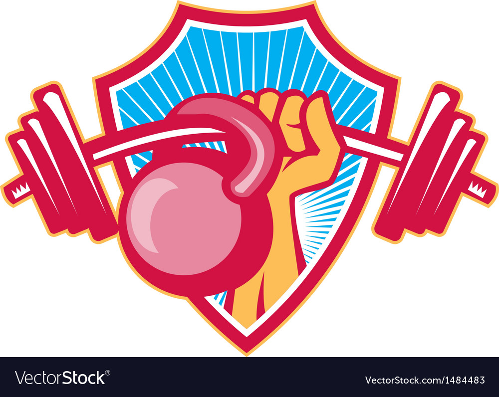 Hand lifting barbell kettlebell crest vector | Price: 1 Credit (USD $1)