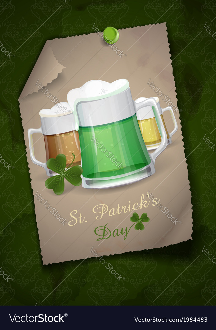 Mug of green beer for st patricks day vector | Price: 1 Credit (USD $1)