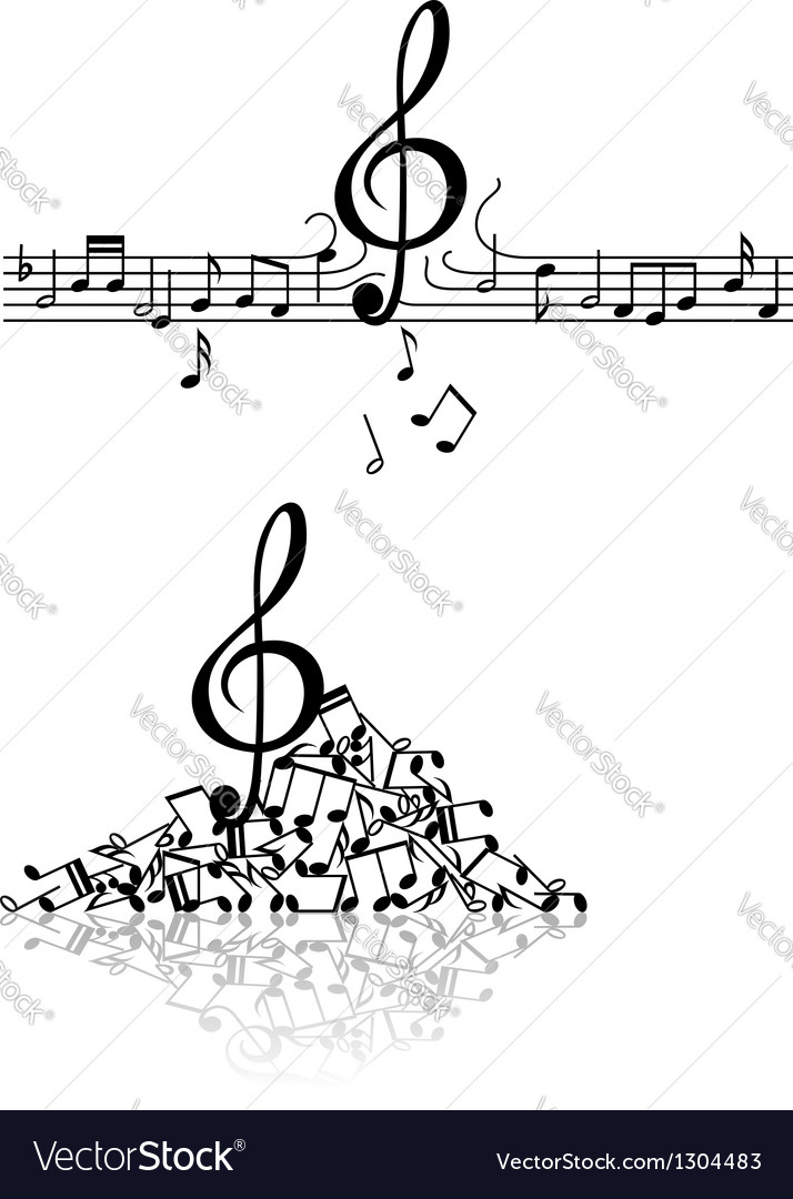Musical background with spoiled notes vector | Price: 1 Credit (USD $1)