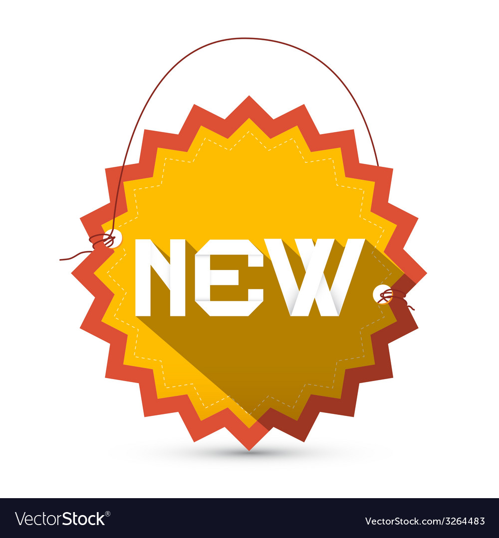 New yellow and red new star shaped label - tag vector | Price: 1 Credit (USD $1)