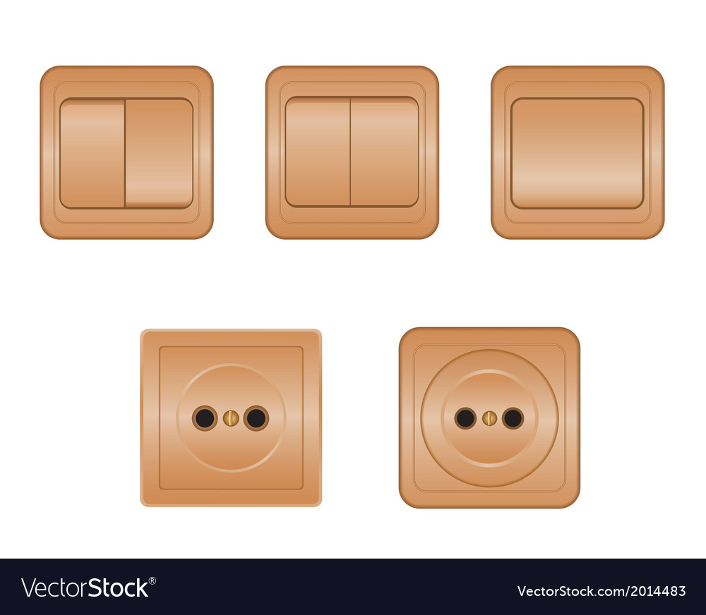 Power sockets and switches vector | Price: 1 Credit (USD $1)