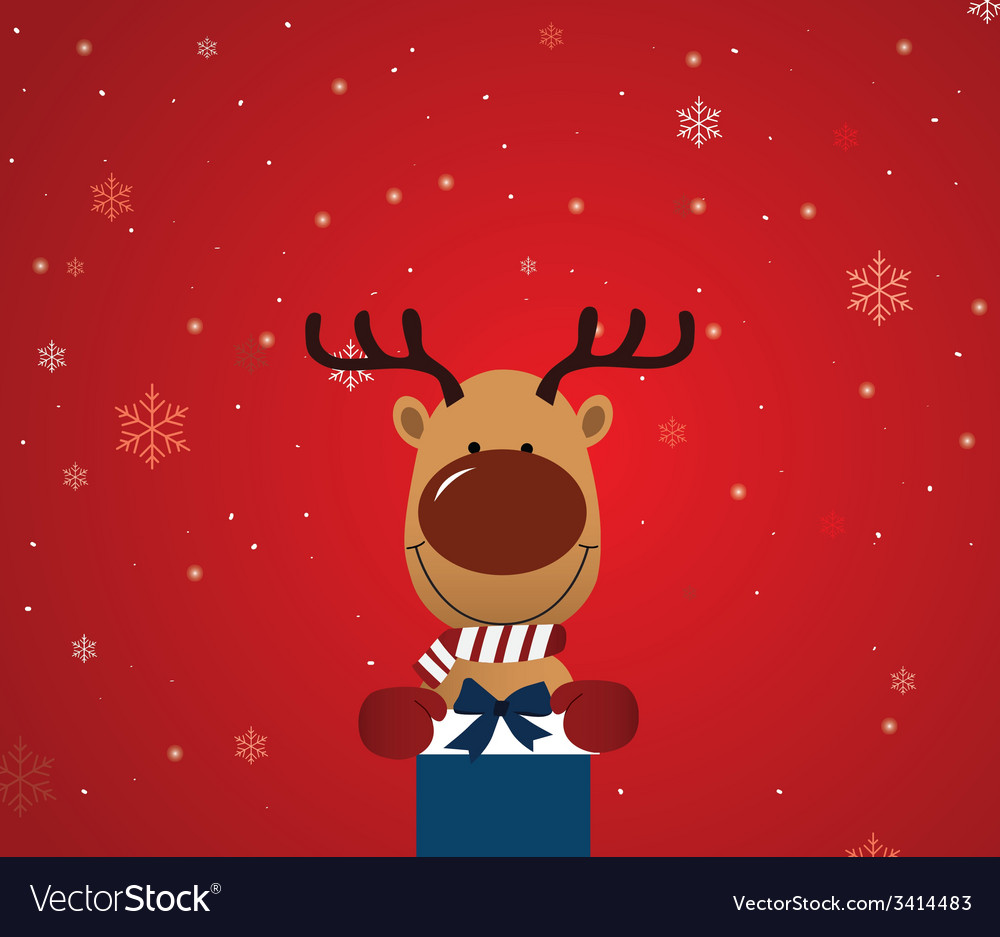 Reindeer holding giftbox vector | Price: 1 Credit (USD $1)