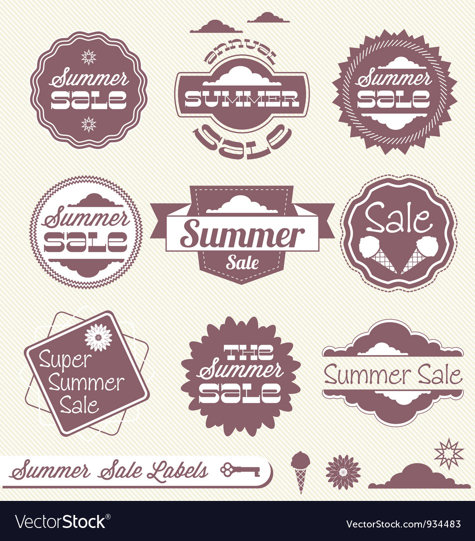 Summer sale labels vector | Price: 1 Credit (USD $1)