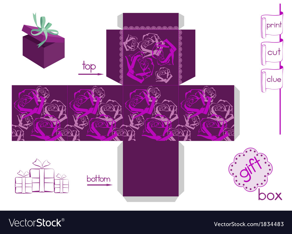 Template for bright gift box vector | Price: 1 Credit (USD $1)
