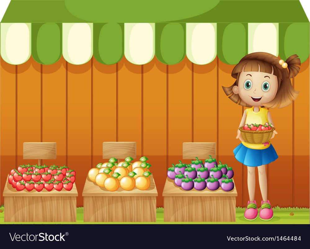 A girl selling different fruits vector | Price: 1 Credit (USD $1)
