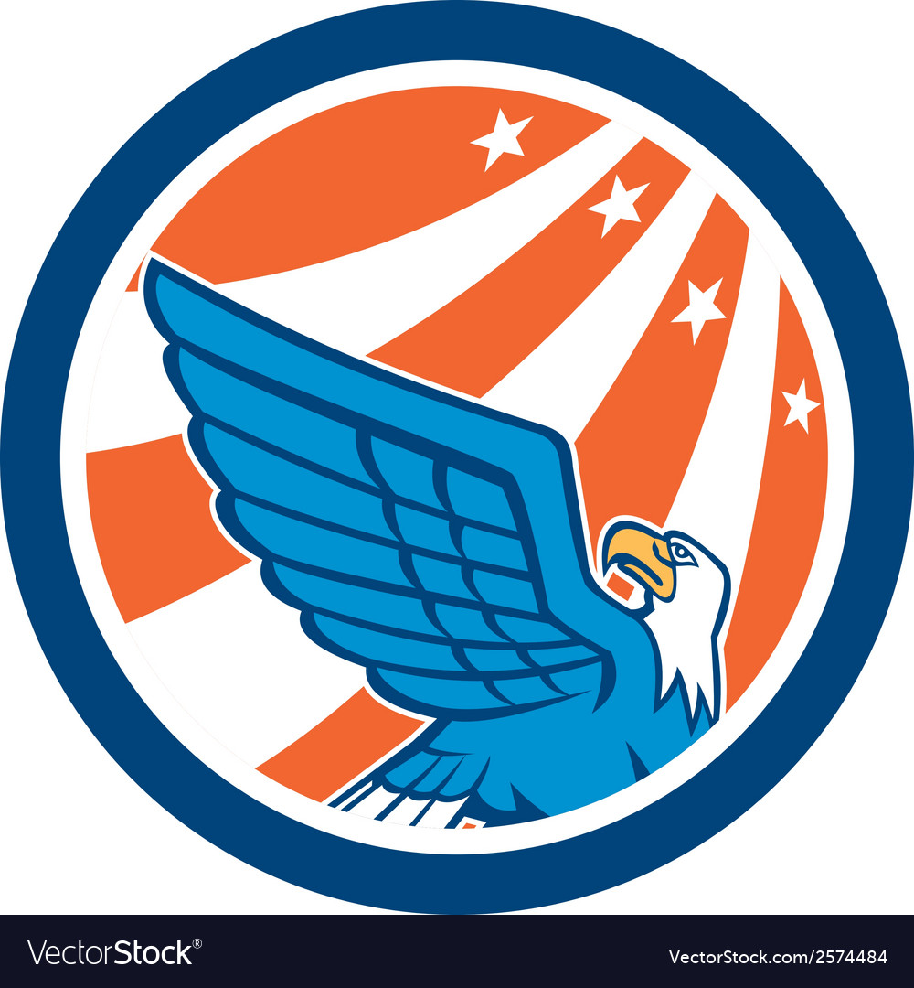 American eagle flying looking up retro vector | Price: 1 Credit (USD $1)
