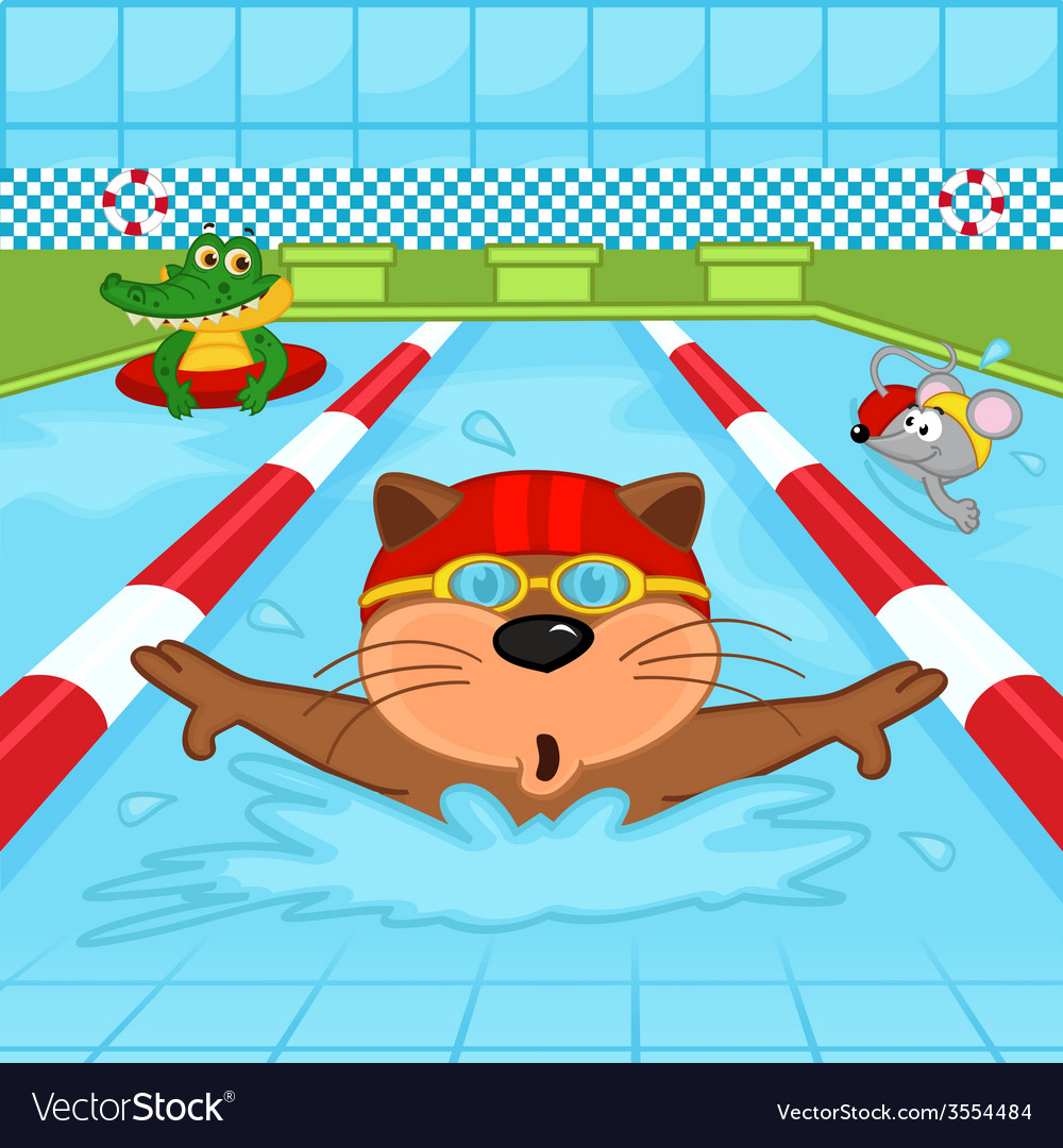 Animals in pool vector | Price: 1 Credit (USD $1)