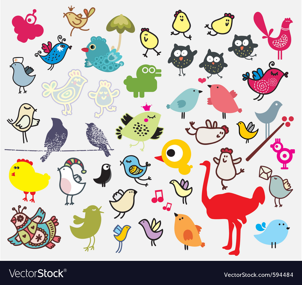 Bird sketch collection vector | Price: 1 Credit (USD $1)