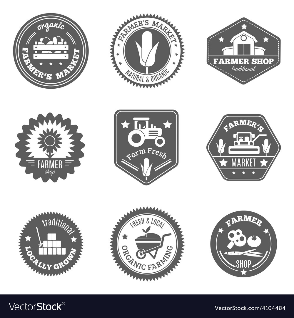Farmer label set vector | Price: 1 Credit (USD $1)