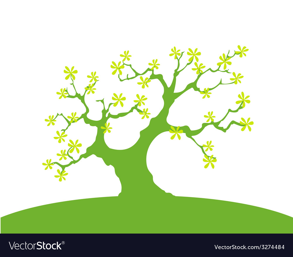 Green background with trees and earth isolated vector | Price: 1 Credit (USD $1)