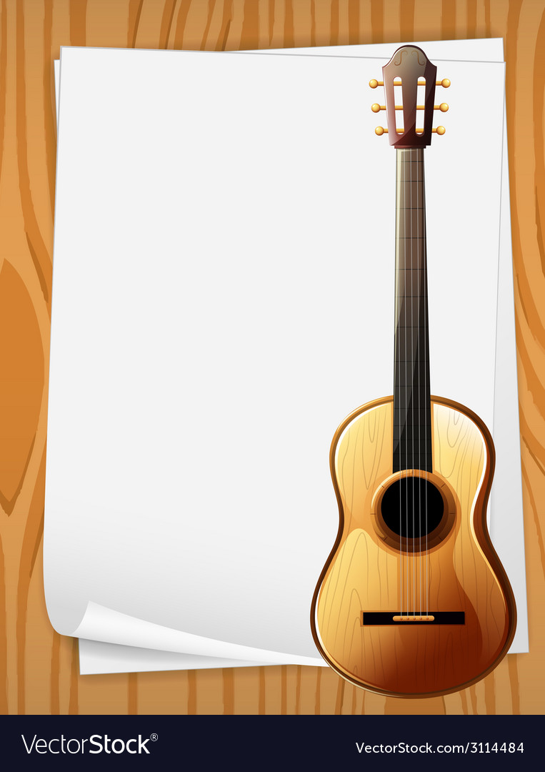 Guitar and paper vector | Price: 1 Credit (USD $1)