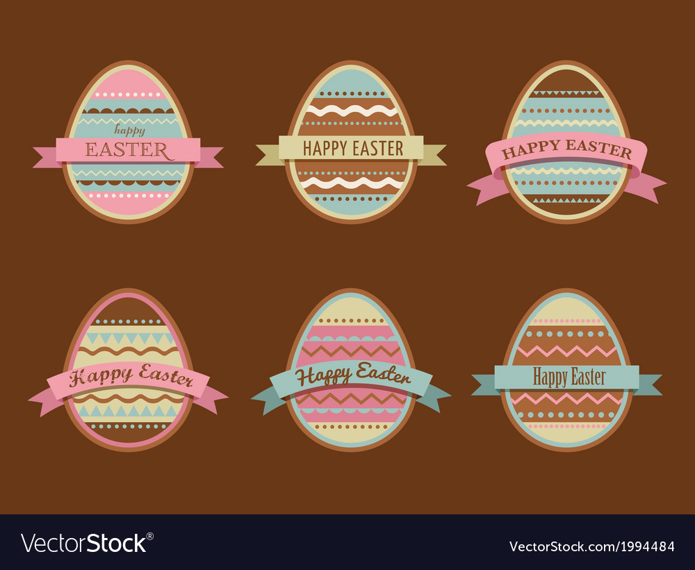 Happy easter - set of stylish eggs icons vector | Price: 1 Credit (USD $1)