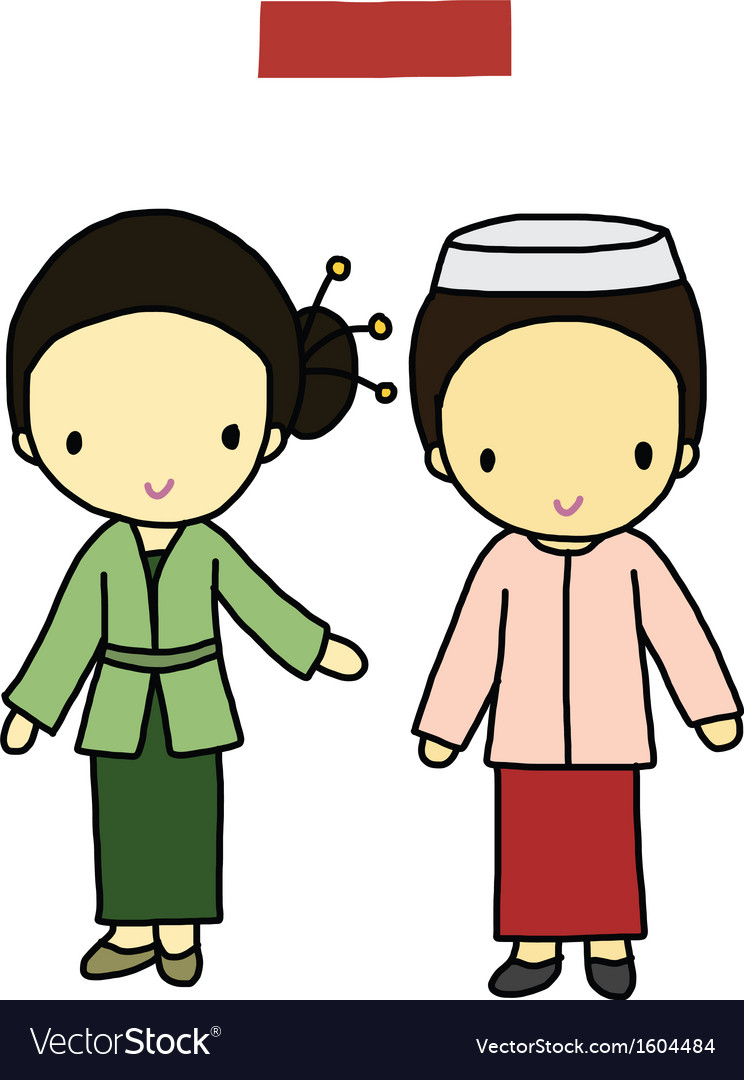Indonesia traditional costume vector | Price: 1 Credit (USD $1)