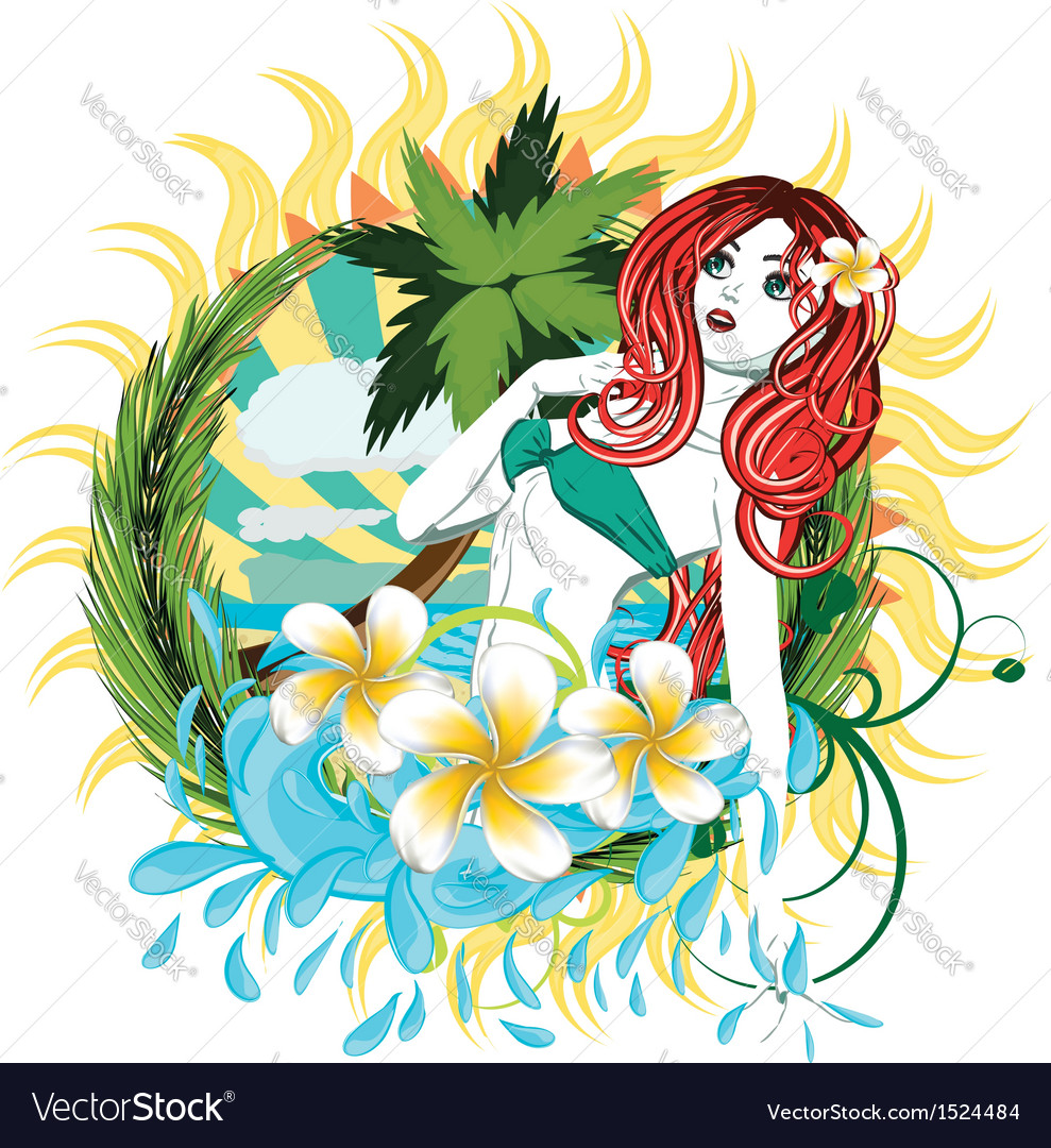 Island girl2 vector | Price: 3 Credit (USD $3)