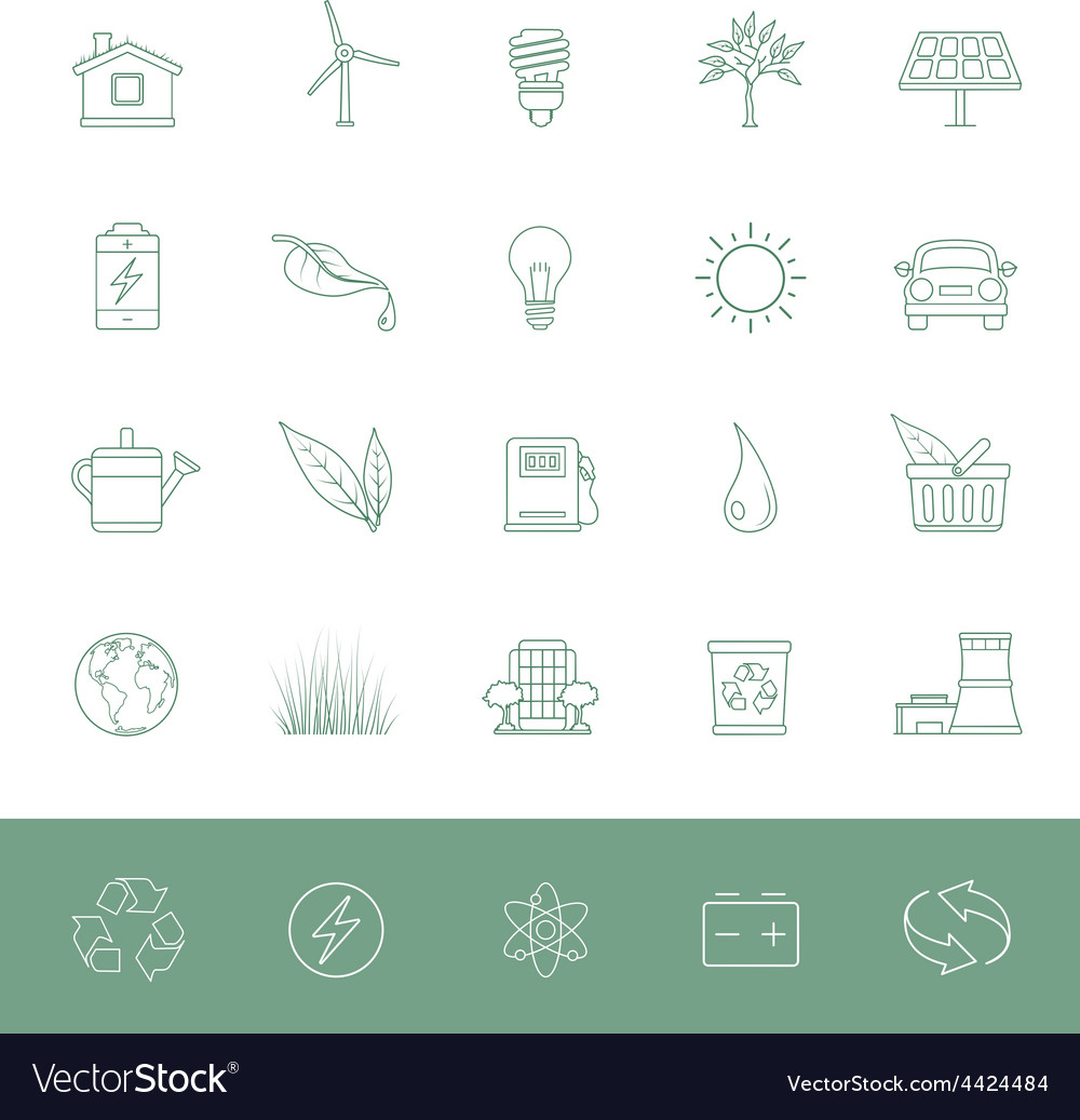 Line icons environmental conservation vector | Price: 1 Credit (USD $1)