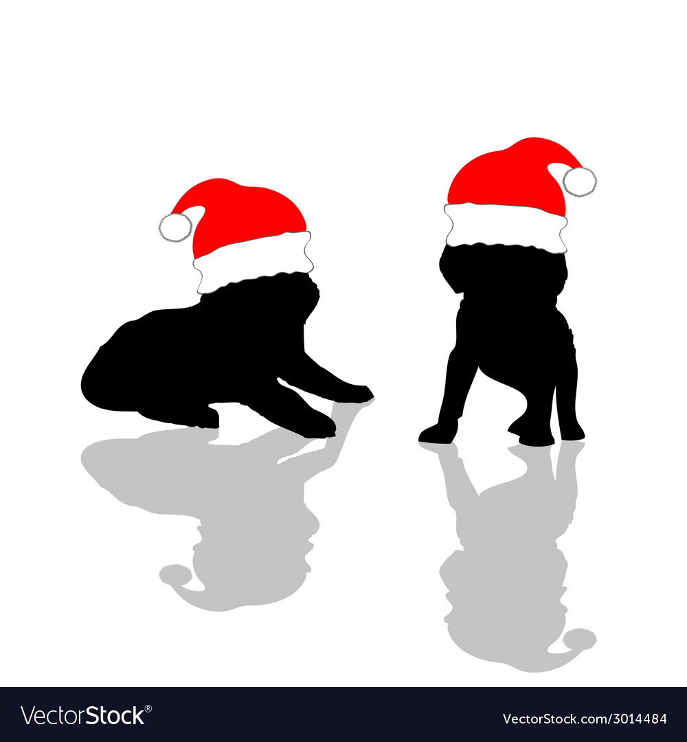 Little cute dog with red christmas hat vector | Price: 1 Credit (USD $1)