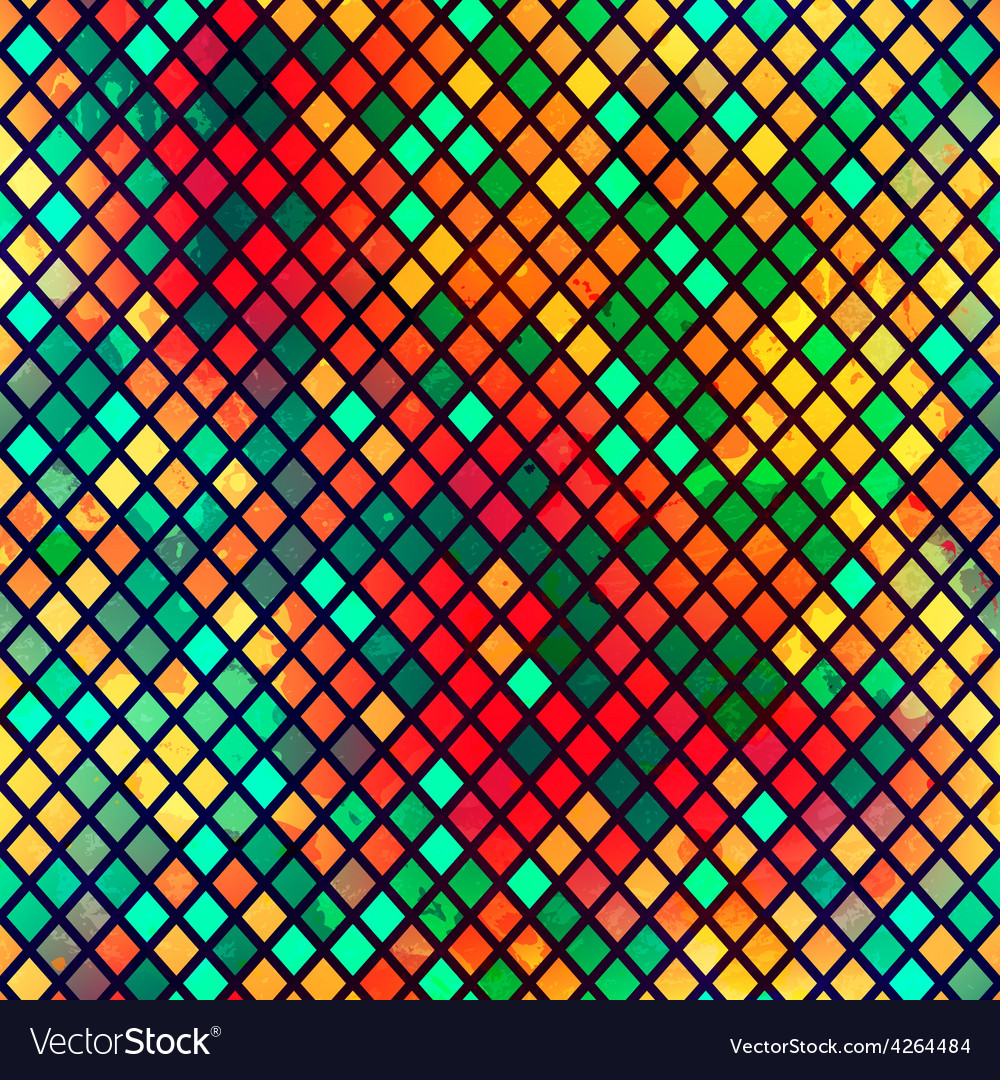 Multicolor mosaic seamless pattern with grunge vector | Price: 1 Credit (USD $1)