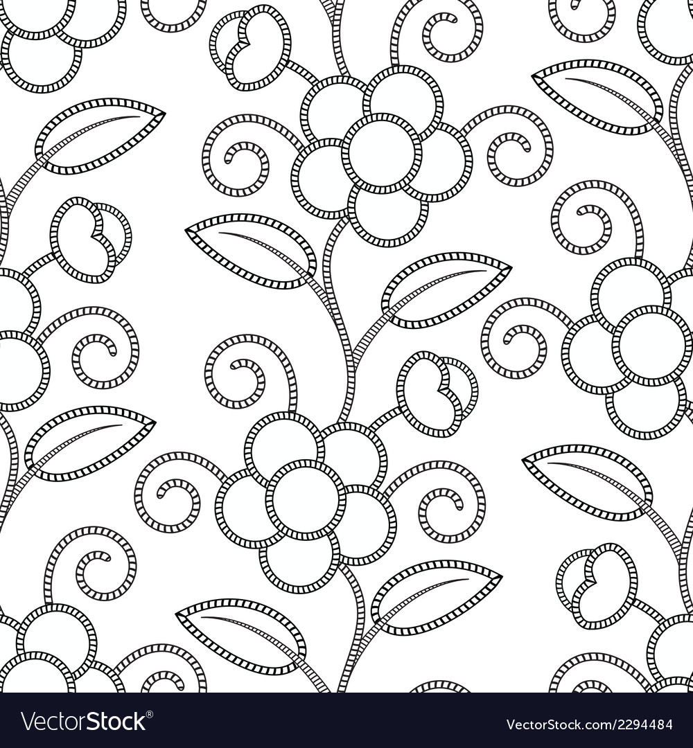 Seamless floral white black background vector | Price: 1 Credit (USD $1)