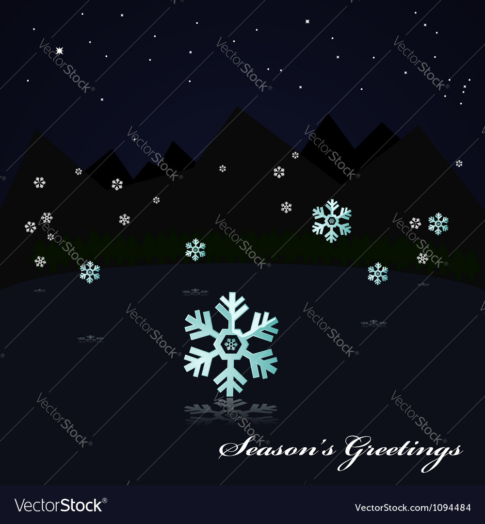 Snowing on the lake at night vector | Price: 1 Credit (USD $1)