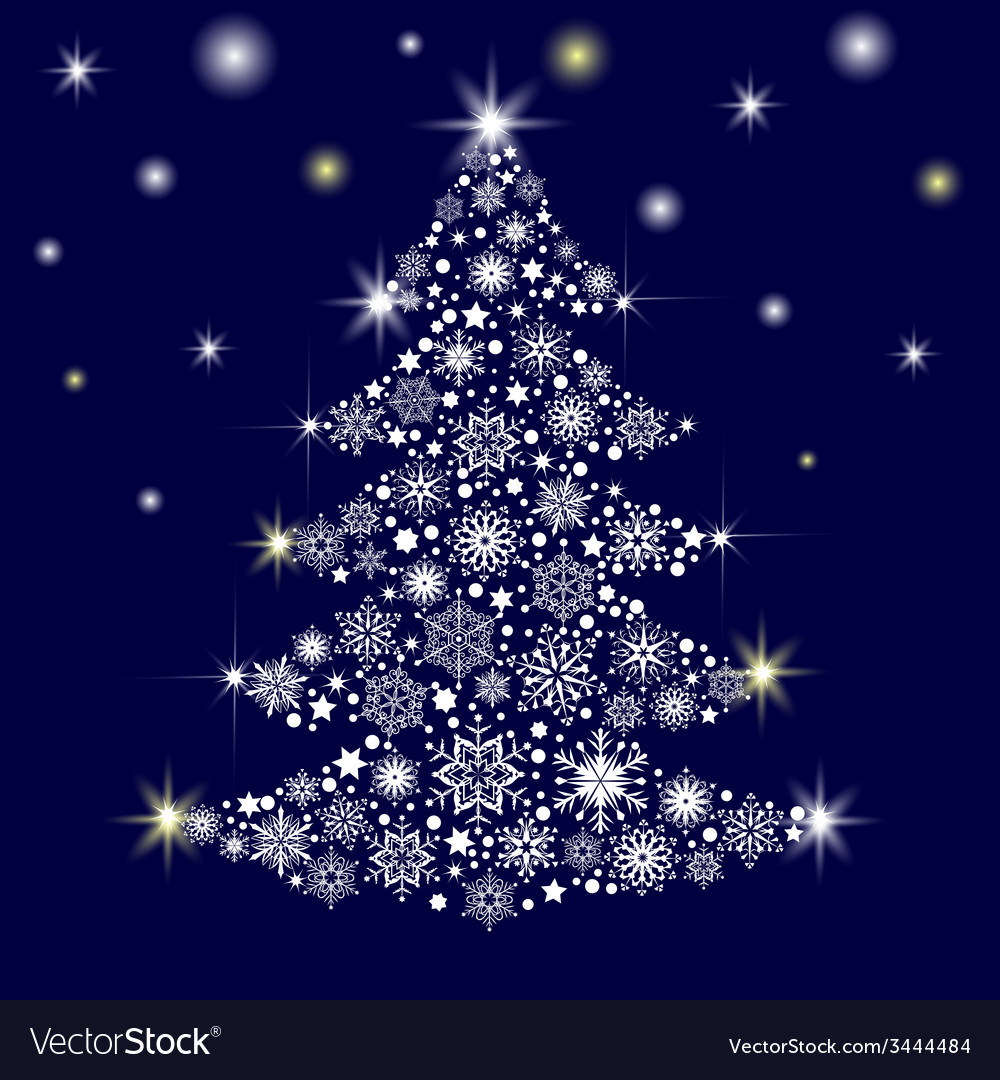 Tree from snowflakes vector | Price: 1 Credit (USD $1)