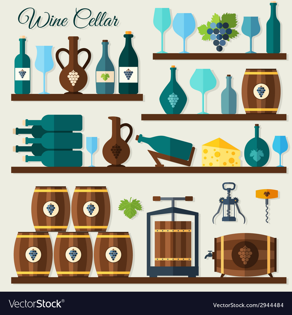 Wine cellar icons vector | Price: 1 Credit (USD $1)
