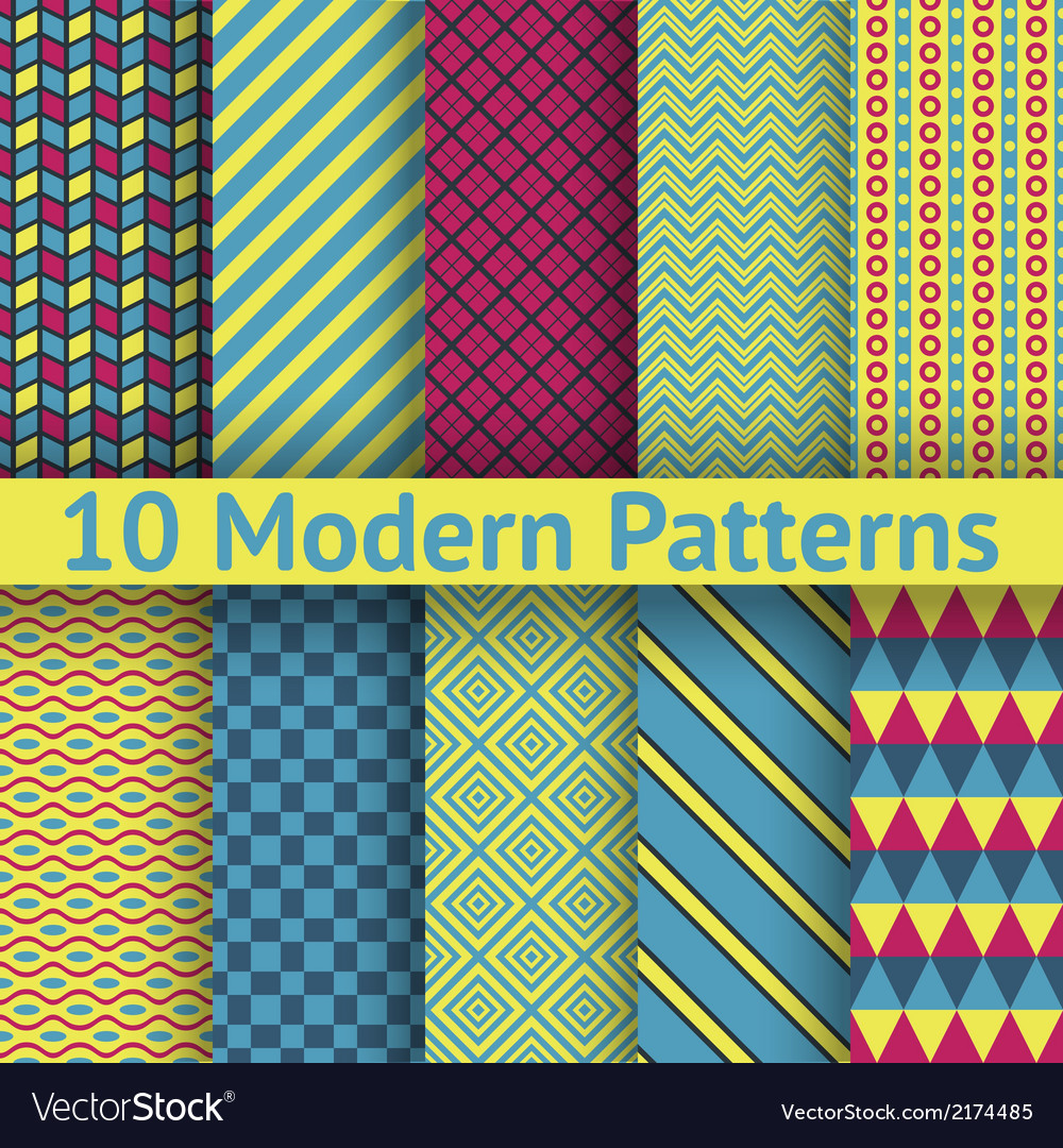 10 different modern seamless patterns tiling vector | Price: 1 Credit (USD $1)