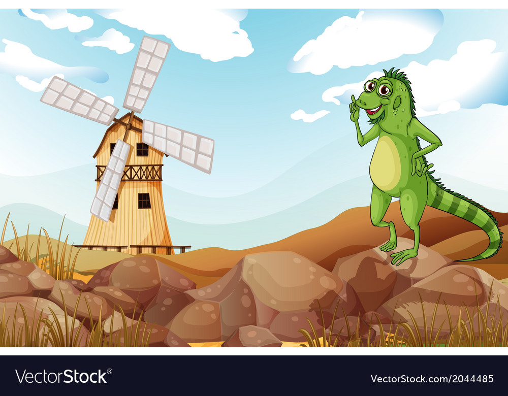 A smiling lizard across the wooden barnhouse with vector | Price: 3 Credit (USD $3)