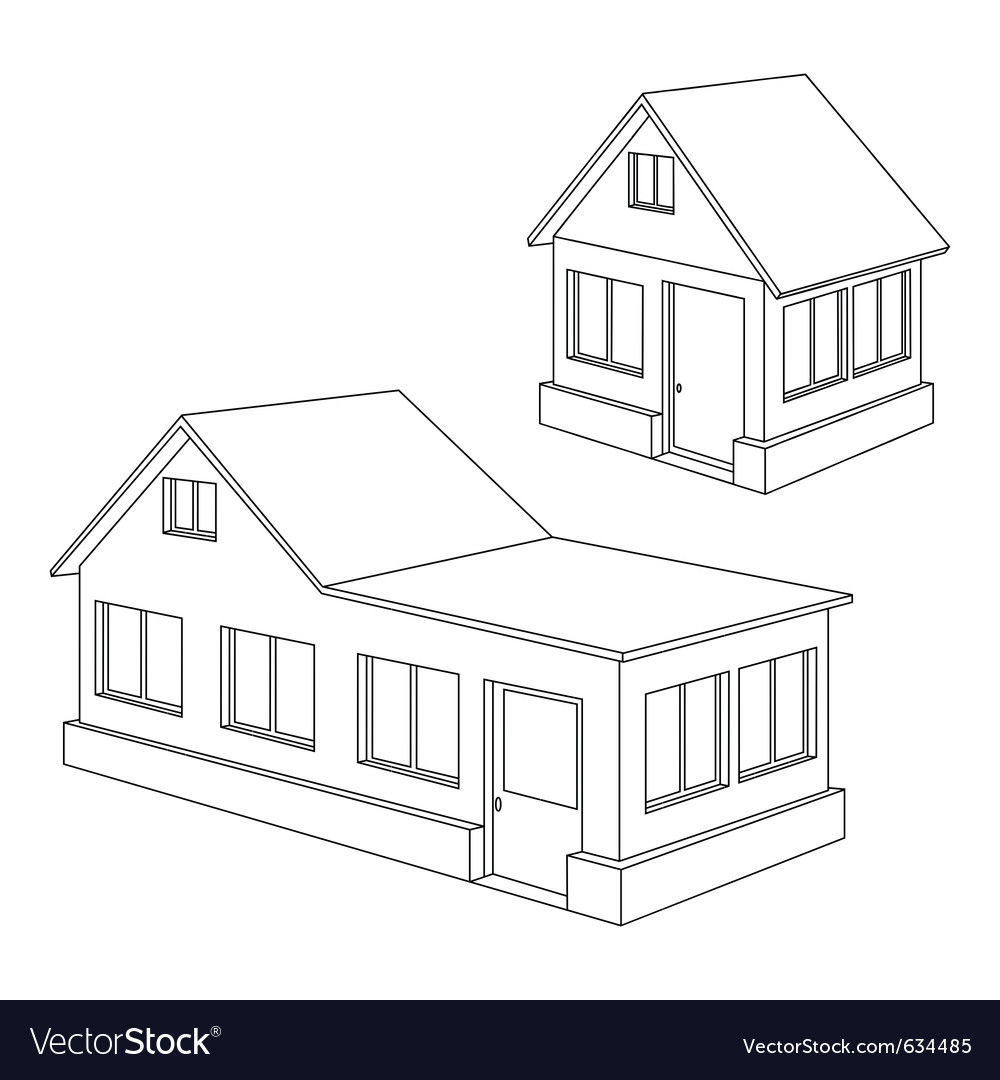 Apartment house contour vector | Price: 1 Credit (USD $1)